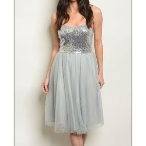 gray sequined tulle dress